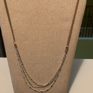 Stella and Dot leather and silver necklace
